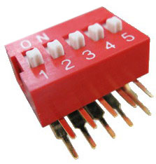 Right Angle Series Slide Dip Switches 5pin